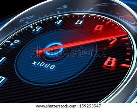 Tachometer and arrow on 7 (done in 3d) - stock photo