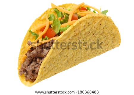 Taco, cutout on white background - stock photo