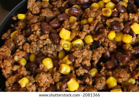 taco mix - beef, beans & corn upclose - stock photo