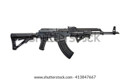 Tactical custom built 7.62 rifle on white background - stock photo
