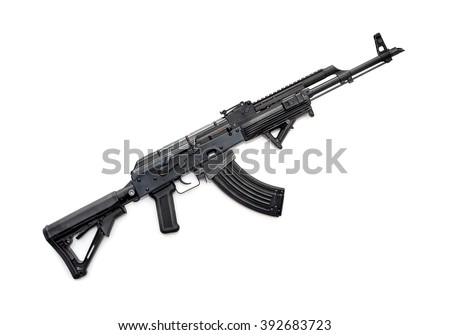 Tactical custom built rifle on white background, shallow depth of field - stock photo