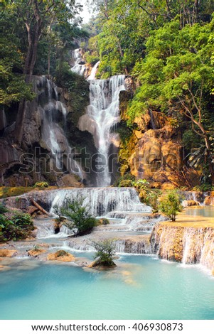 Tad Kuang Si waterfall in forest near to Luang Prabang, Laos - stock photo