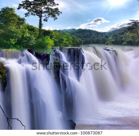 Tad-Pa Suam waterfall, Southern Laos - stock photo