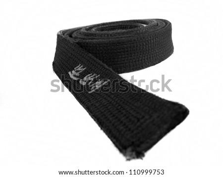 Tae kwon do martial arts black belt isolated on white background - stock photo