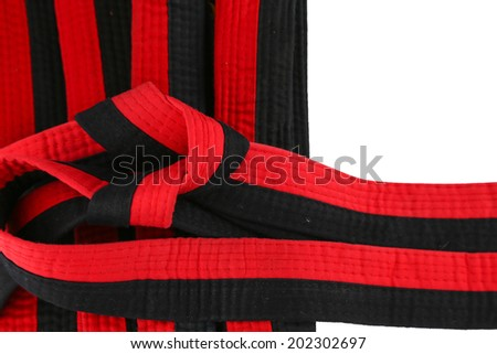 taekwondo red black belt - stock photo