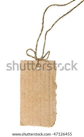 tag cardboard with rope bow isolated on white background - stock photo