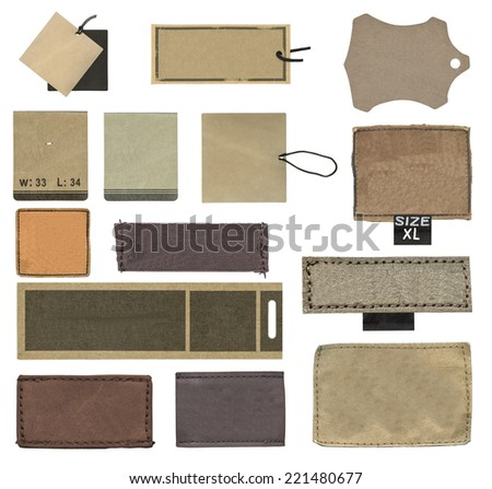 tag collection on white background - stock photo