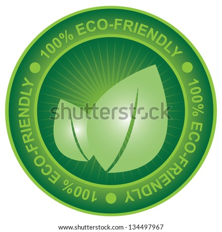 Tag or Badge For Eco-Friendly or Save Energy Sign Present By Green Leaf Icon Isolated on White Background - stock photo