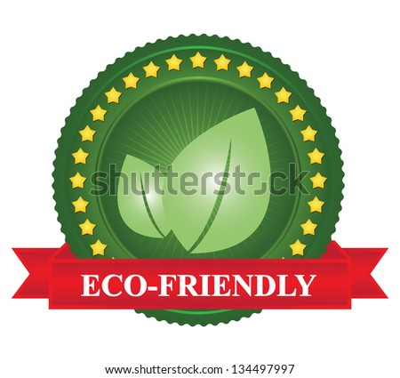 Tag or Badge For Eco-Friendly Sign Present By Green Leaf Icon and Yellow Star Around With Red Eco-Friendly Ribbon Isolated on White Background - stock photo