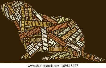 Tag or word cloud Groundhog Day related in shape of groundhog - stock photo