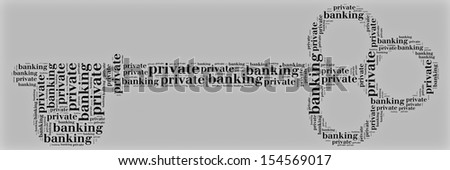 Tag or word cloud private banking related in shape of key - stock photo