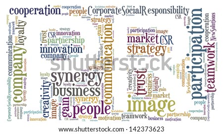 Tag or word cloud public relations related in shape of PR - stock photo