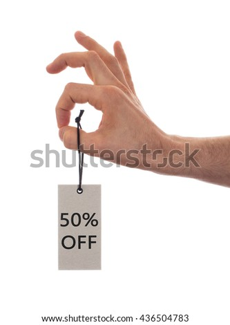 Tag tied with string, price tag - 50 percent off (isolated on white) - stock photo
