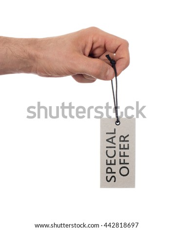Tag tied with string, price tag - Special offer (isolated on white) - stock photo