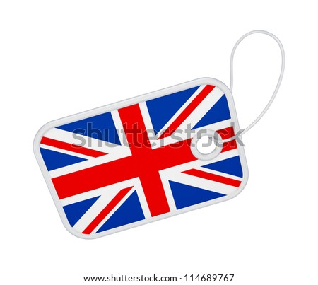 Tag with a flag of United Kingdom.Isolated on white background.3d rendered. - stock photo