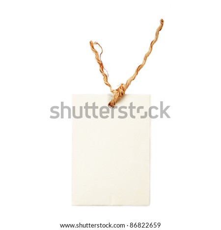 Tag with copy space for text on white background. - stock photo