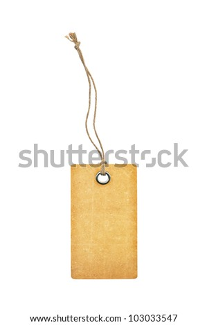 Tag with metal rivets Isolated on White - stock photo