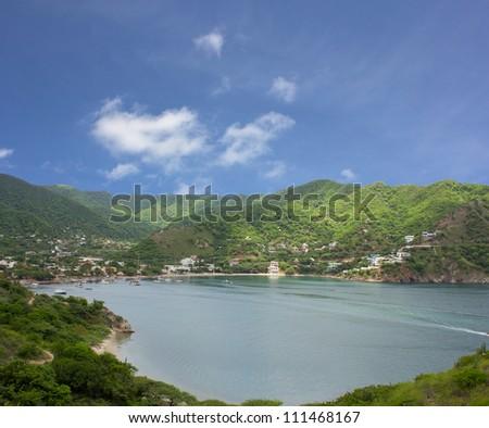 Taganga the caribbean coast of Colombia. - stock photo