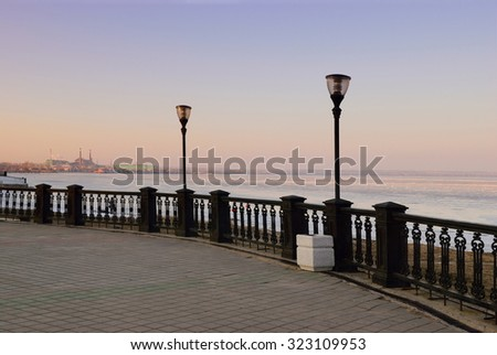Taganrog quay in winter night - stock photo