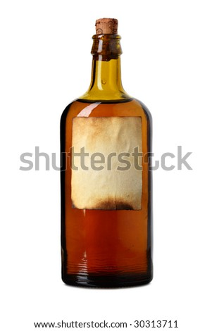 Tagged bottle with transparent liquid isolated over white background - stock photo