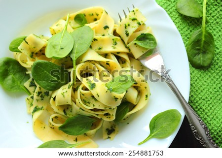 Tagliatelle pasta with spinach sauce and fresh leafs on a white plate - stock photo