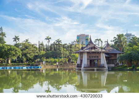 Taichung Park Pavilion in the lake - stock photo