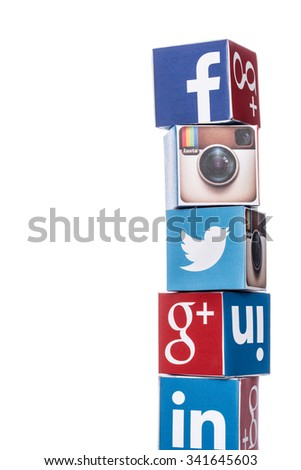 Taichung, Taiwan -  November 10, 2015: Cubes with logotypes of social media: Facebook, Twitter, Google Plus, Instagram, Linkedin,  tumblr and other logos - stock photo