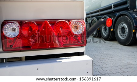 Tail lights of truck - stock photo