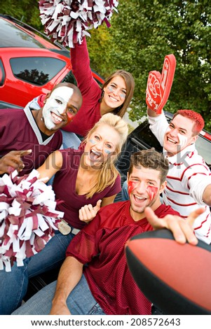 Tailgating: Excited College Football Fans Cheering - stock photo