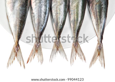 Tails of raw mackerel on a plate. On a white background. - stock photo