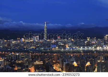 Taipei City Skyline  with the famous Taipei 101 , Taiwan - stock photo