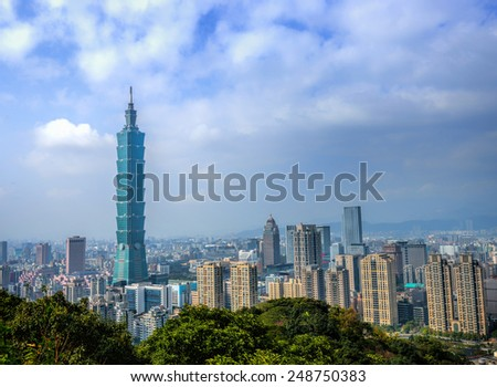 TAIPEI, TAIWAN - JANUARY 21: Day view of Taipei skyline on January 21, 2015 in Taiwan, Taipei 101, The building ranked worlds tallest from 2004 until 2010. - stock photo