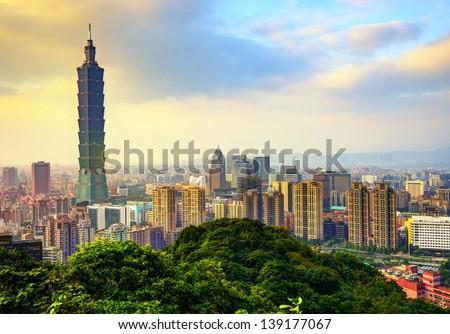 Taipei, Taiwan skyline. - stock photo