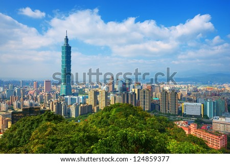 Taipei, Taiwan skyline viewed during the day from Elephant Mountain. - stock photo