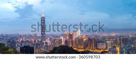 Taipei, Taiwan skylines building at dusk panorama - stock photo