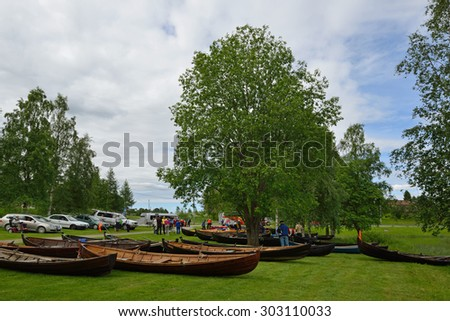 TAIVALKOSKI, FINLAND - JUNE 30, 2015:Paatalo week program consists of traditional events, concerts, theater and sports competitions, such as kayaking and canoeing - stock photo