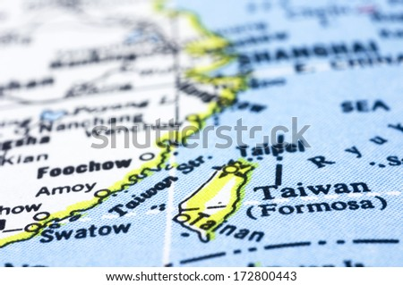 taiwan close up on map, asia country. - stock photo