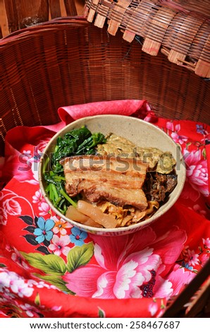 Taiwan's famous cuisine - stewed pork  and rice  - stock photo