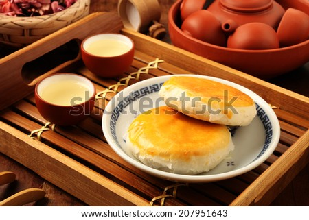 Taiwan's  traditional cake - Minced pork & haricot beans cake - stock photo