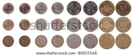Taiwanese 1, 5, 10 and 50 New Taiwan dollar coin pieces isolated on white. Contains both front and rear sides of the coins as well as three levels of condition from new to worn. - stock photo