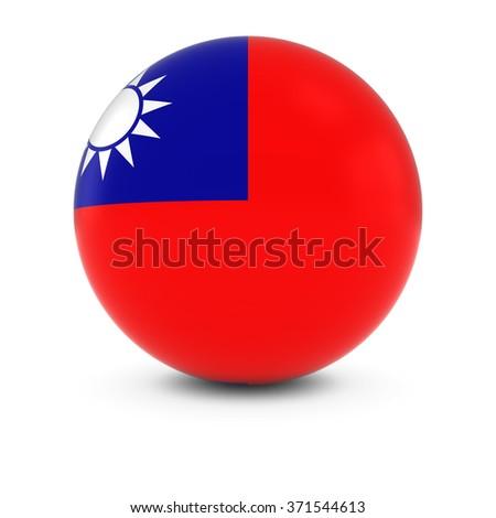 Taiwanese Flag Ball - Flag of Taiwan on Isolated Sphere - stock photo