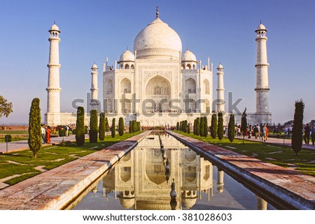 Taj mahal , A famous historical monument - stock photo