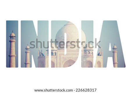 Taj mahal , A famous historical monument, A monument of love, the Greatest White marble tomb in India, Agra, Uttar Pradesh  - stock photo