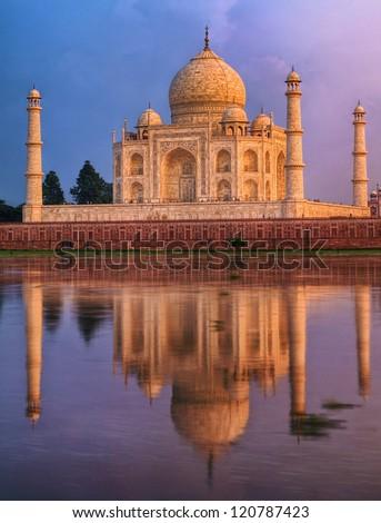 Taj Mahal, Agra, India, on sunset - stock photo