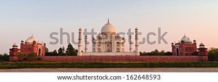 Taj Mahal at the sunset, Agra, India - stock photo