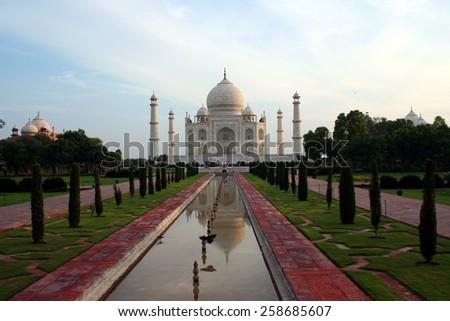 Taj Mahal early in the morning, Agra, India. - stock photo