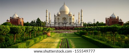 Taj Mahal from the garden side, sunset - stock photo