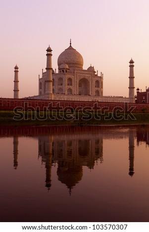Taj Mahal from the North bank of the Yamuna river at sunset. India. - stock photo