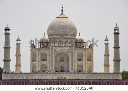 Taj Mahal from the river - stock photo