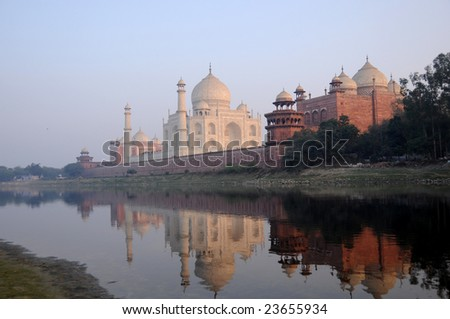 taj mahal in the evening. taj mahal, india, unesco world heritage site - stock photo